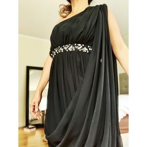 BEBE sexy one-sleeve chiffon party dress black S